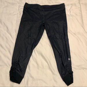 Denim-colored crop lululemon leggings size 8